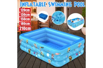 120/130/150/180/210CM For 1-5 Persons Large Inflatable Swimming Pool Family Adult Childrens Kids Fun Water Play Center for Outdoor Backyard(210x135x55cm)