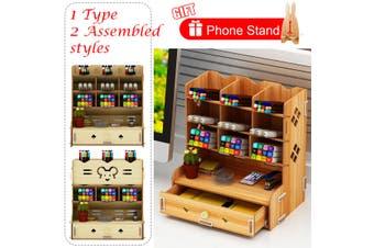 Wood Desk Organizer Desktop Storage Brush Container Office Pencil Holder Pen Box