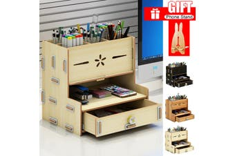 Desk Organizer Desktop Storage Brush Container Pencil Holder Pen Box With Drawer