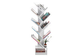 9 Tier Tree Bookshelf Display Shelf Rack Book Case Storage Stand Bookcase White