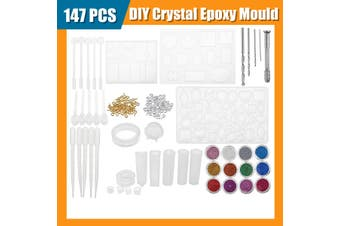 55/94/147/159pcs Resin Casting Molds Silicone Pendant Tray Jewelry Mould Craft(147pcs Set)