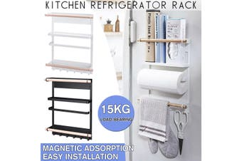 Kitchen Organiser Rack Fridge Magnetic Paper Towel Holder With Hooks Multifunction