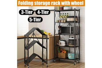 3/4/5-Tier Folding Storage Rack With Wheel For Living Room Bedroom Kitchen