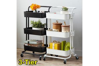 Multifunctional 3-Tier Storage Rack Trolley Rolling Utility Cart Home Kitchen