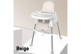 Adjustable Baby Comfortable High Chair Safe Feeding Highchair For Kids/Toddler(beige)