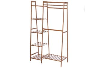 Wooden Wardrobe Clothes Shoe Rack Clothing Closet Storage Storage Rack Hanging Rail Rack