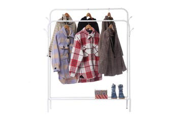 49in Metal Clothes Rack Garment Display Rolling Hanger Shoes Stand Rail Shelf(white,49 inch)