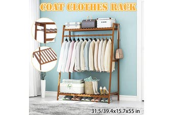 Bamboo Clothes Rack Garment Storage Organizer Hanging Rail Shelves Stand(2-Tier)