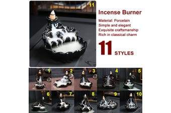 Ceramic Mountain Waterfall Backflow Incense Burners Cone Burner Censer Holder(Type 2)