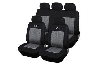 Universal Car Seat Covers Protector Car Interior Decoration Full Set Front + Rea(9pcs Grey)