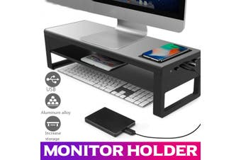Computer Laptop Base USB 3.0 Wireless Charger Aluminum Alloy Smart Holder Stand Monitor Bracket Desk