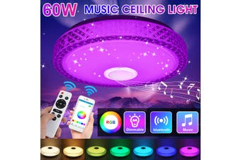 110-260V Modern LED bluetooth Speaker Ceiling Light Round Simple Ceiling Lamp APP and Remote Control Dimmable Music Light for Dining Room Balcony Bedroom(with Remote)