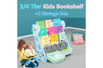 3/4 Tier Kids Bookshelf Bookcase Magazine Rack Organiser Shelf Children