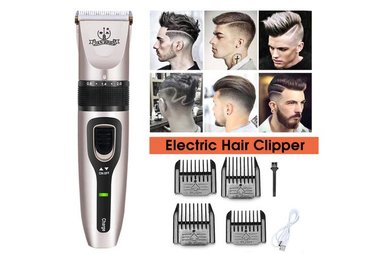 5 Gears Professional Hair Clipper High Speeds Cordless Electric Hair Trimmer With 4pcs Limit Comb for Man Baby Hair Cutter Pro Hair Cutting Machine Haircut Barber Tool Gift(gold,Only Clipper)