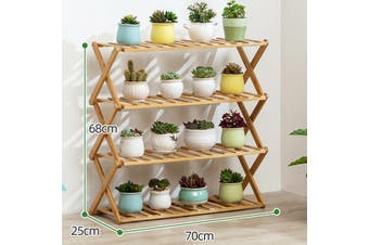 4 Tier Folding Shoe Rack Bamboo Wooden Shelf Stand Storage Organizer Cabinet Set