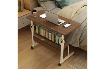 (2 Types , 60-90cm Height Adjustable) Laptop Side Table Household Home Sofa Table TV Tray Couch Sofa End Table Laptop Desk Bamboo Coffee Table Computer Table Shelf Gifts