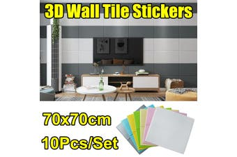 10Pcs/Set 3D Wall Tile Stickers Kitchen Bathroom Self-Adhesive Decals 70x70cm