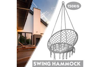 Hammock Chair Macrame Swing, Handmade Knitted Hanging Cotton Rope Chair for Home Patio Deck Yard