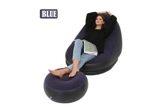 Inflatable Lounge Chair with Footrest Indoor Corner Sectional Couch With Ottoman