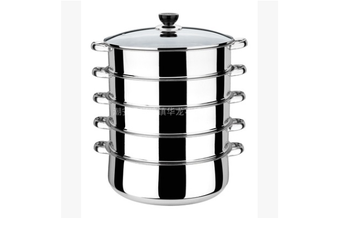 5 Tier 28/30/32CM Stainless Steel Steam Pot , Metal Steamer Basket for Crab Seafood Food Vegetable Bamboo