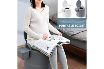 2 Colors Portable Toilet Seat Old Pregnant Woman Home Bath Indoor Potty Commode(grey,grey)