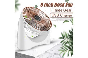 Mini 6Inch USB Rechargeable Desk Fan Cooling Portable Adjustable, 3 Speed Stand Desktop Table Strong Wind Quiet for Home Office Room Car Travel(gold)