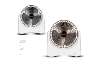 Mini 6Inch USB Rechargeable Desk Fan Cooling Portable Adjustable, 3 Speed Stand Desktop Table Strong Wind Quiet for Home Office Room Car Travel(silver)