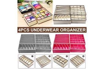 4PCS Closet Underwear Organizer Foldable Storage Box Drawer Divider Kit(gray,4PCS)