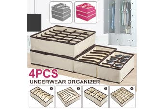 4PCS Closet Underwear Organizer Foldable Storage Box Drawer Divider Kit(beige,4PCS)