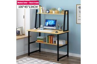 Computer Desk Home Office Table Shelf Student Metal Study Workstation Storage(Walnut Colour -100cm)