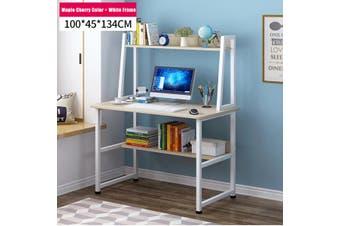Computer Desk Home Office Table Shelf Student Metal Study Workstation Storage(Maple Cherry-100cm)