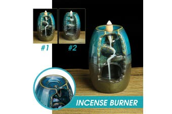 Ceramic Backflow Waterfall Smoke Incense Burner Censer Holder Home Decor + Cones