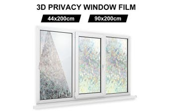 3D Privacy Window Film Non-Adhesive Frosted Pattern Glass 44x200cm / 90x200cm(90x200cm)