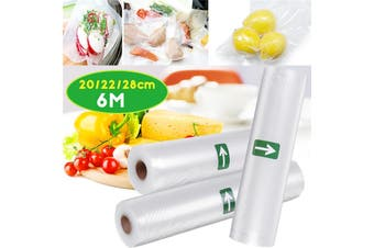 【6M】(20cm/22cm/28cm) 1 Roll Reusable Vacuum Food Sealer Bag Vegetable Fresh Keeping Seal Bag Roll Wet F00d Saver Snack Storage Bag For Home Kitchen Restaurant Packaging Sealing Machine