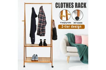 Clothes Rack Coat Garment Stand Portable Bamboo Rail Hanger Airer Closet