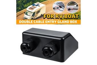 Top Double Cable Entry Gland Solar Panel Roof Motorhome Caravan Camper Boat Van #Black