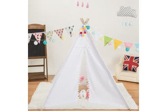 Kids Teepee Pyramid Play Tent Children Playhouse Outdoor Indoor Game House(white,1.35 m)