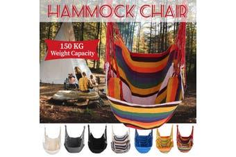 Hammock Chair Hanging Swing Chair Seat for Garden Indoor Outdoor Hammock Swing(rainbow,chair 150kg for adult)