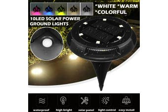 1/2/4x Waterproof Solar Power Buried 6 RGB Under Ground Lamp + 4 Side Light Outdoor Garden(white,1pcs 10LED)