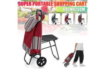 Portable Shopping Trolley Bag Cart Carts w/ Vibrant Chair Luggage Wheels AU