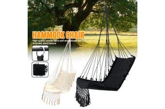 Hammock Tassels Chair Hanging Swinging Outdoor Indoor Garden Bedroom Cotton (black)
