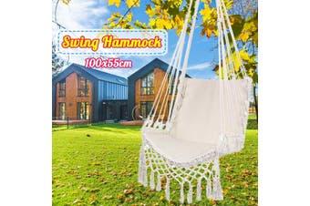 Hammock Tassels Chair Hanging Swinging Outdoor Indoor Garden Bedroom Cotton (white)