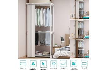 Multifuctional Wardrobe Organisers Garment Rack Floor Stand Clothes Pants Hanging Rack with curtain(white)