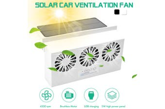 4500 RPM Solar Power Car Exhaust Fan 3 Air Vent Auto Window Cooling Fan Eliminate Odors with USB Charging(white,USB Powered)