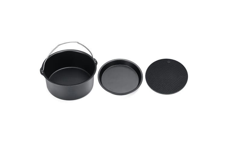 5Pc/Set 6/7 Inch Air Fryer Frying Cage Dish Baking Pan Rack Pizza Tray Pot Tool Accessories (7 Inch Set)