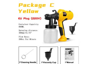 Professional Sprayer 800ML 400W 110V/220V High Power Home Electric Paint Sprayer EU/US Plug(yellow,Package C)