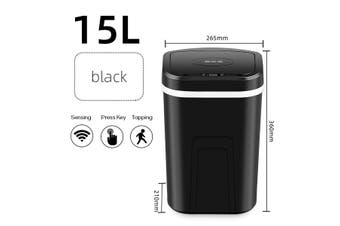 15L 4 Gal Smart Trash Can Touchless Infrared Motion Trash Can Large Capacity Automatic Induction Garbage Bin(black)