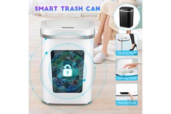 15L 4 Gal Smart Trash Can Touchless Infrared Motion Trash Can Large Capacity Automatic Induction Garbage Bin(white)