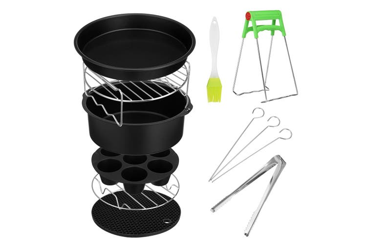 10Pcs/Set 6/7 /8 Inch Air Fryer Frying Cage Dish Baking Pan Rack Pizza Tray Pot Tool Accessories