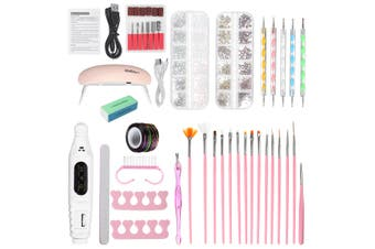 60PCS Nail Tool Kit Nail Dryer Lamp Nail Pen Nail Decorations Rhinestones -- White / Pink / Black / Red / Blue(white,Manicure tools Kit)